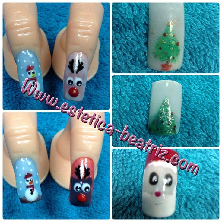 Decoración navideña, papa noe, reno  árbol, navidad, uñas, nails