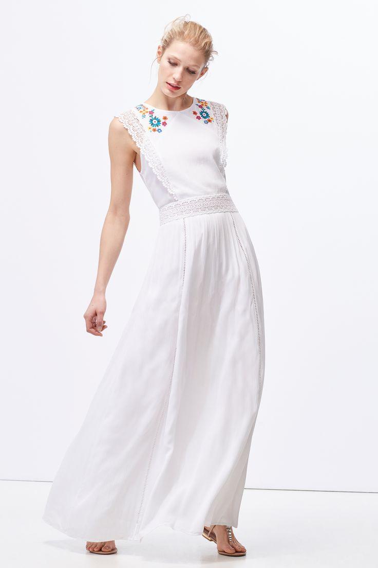 Cortefiel - Vestido largo bordado