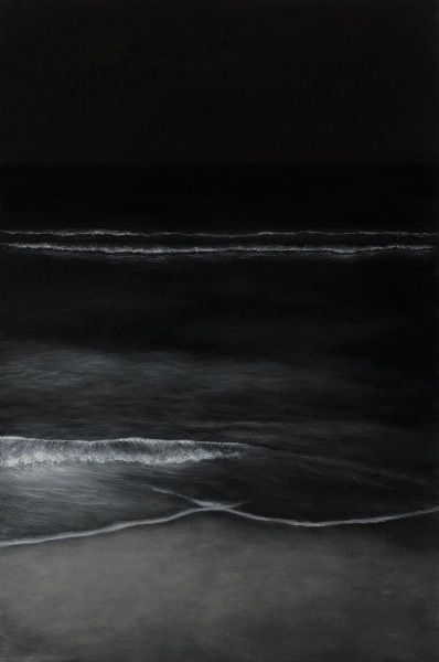 black and white ocean shore by Elsa Munoz