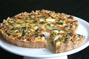 Chicken, Spinach & Feta Quiche with a Quinoa + Parmesan Crust