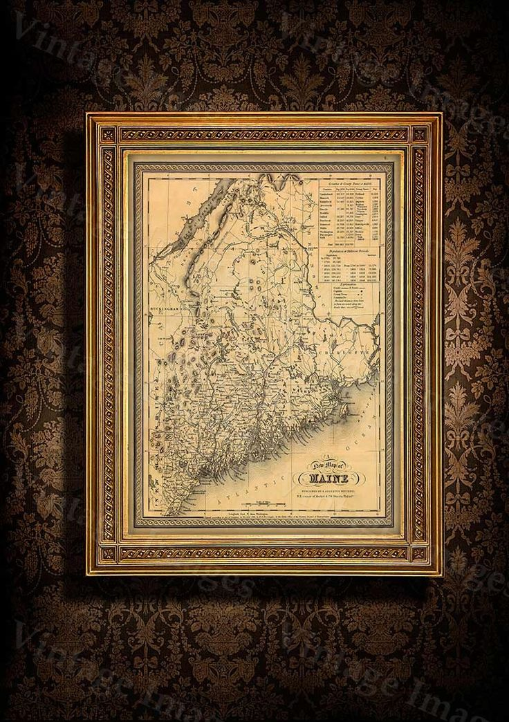 30 best restoration hardware style maps images on pinterest map of maine 1846 old maine map old historic map of maine antique restoration hardware style gumiabroncs Image collections