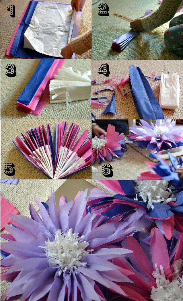 Giant paper tissue flowers