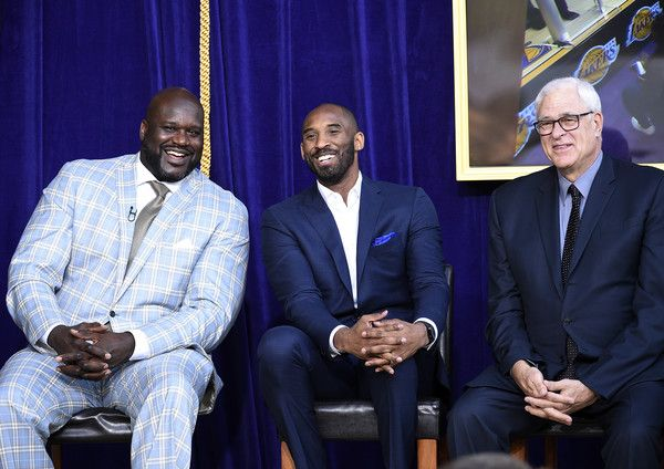 Kobe Bryant Photos Photos - Former Los Angeles Lakers players Shaquille O'Neal (L) Kobe Bryant and coach Phil Jackson during a ceremony where of O'Neal's statue was  unveiled at Staples Center March 24, 2017, in Los Angeles, California. NOTE TO USER: User expressly acknowledges and agrees that, by downloading and or using this photograph, User is consenting to the terms and conditions of the Getty Images License Agreement. - Los Angeles Lakers Unveil Shaquille O'Neal Statue