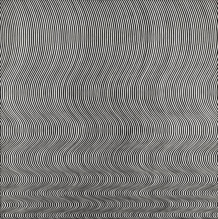 "Bridget Riley - Fall  Michael Compton's account of Bridget Riley's painting, Fall, ""The eye (and the mind) is threatened with a complete breakdown in its power to control or structure what it sees. It is overwhelmed which contridictory information, much of it is created by its own mechanisms, which in less extreme conditions, serve to stabilise perception."""
