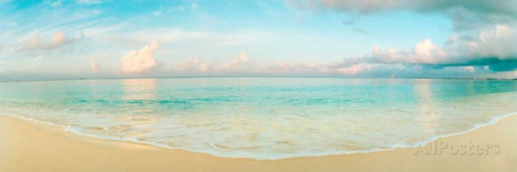 Waves On The Beach, Seven Mile Beach, Grand Cayman, Cayman Islands Wall Decal by Panoramic Images at AllPosters.com