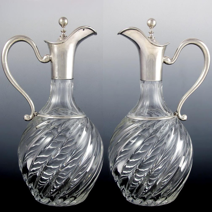 Boxed 14pc Antique German .800 Silver & Cut Crystal Liquor Service - from theantiqueboutique on Ruby Lane