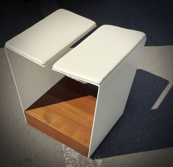 Chair design for exterior use - inspired by the lap of figurative sculpturws - white painted stainless steel structure with teak box that hides the wheels. A little interesting shape that gives your terrace table some personality