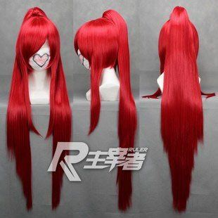 Sakura Kyoko ,100cm red long straight ponytails cosplay costume wig,have stock,Free shipping