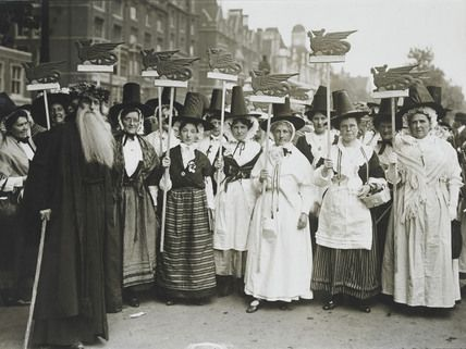 Welsh Suffragettes in traditional costume on the Women's Coronation Procession, 17 June 1911. The Welsh contingent marched between the Scottish and Irish suffragettes.