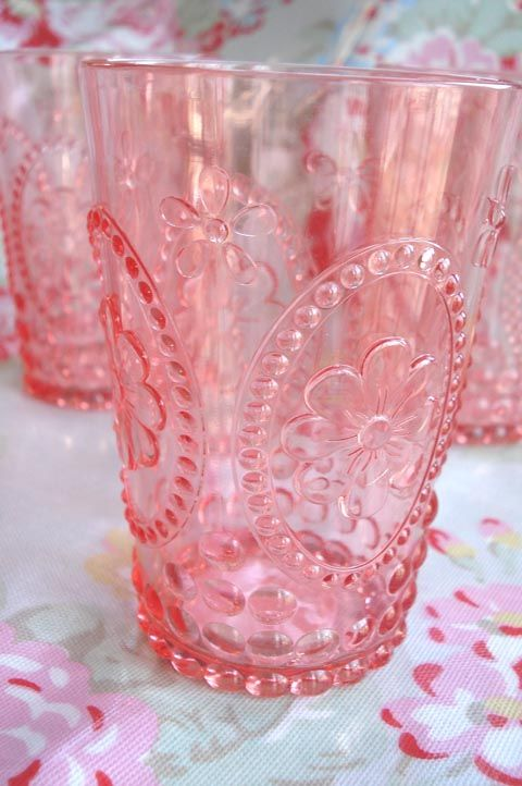 I found these stunning pink drinking glasses at Target yesterday.  Aren't they pretty!  They were part of a new Easter/Spring collection.  These are the smaller ones (there is a larger tumbler as well) and they sell for 2.49 each in the store or you can order a set of them here.