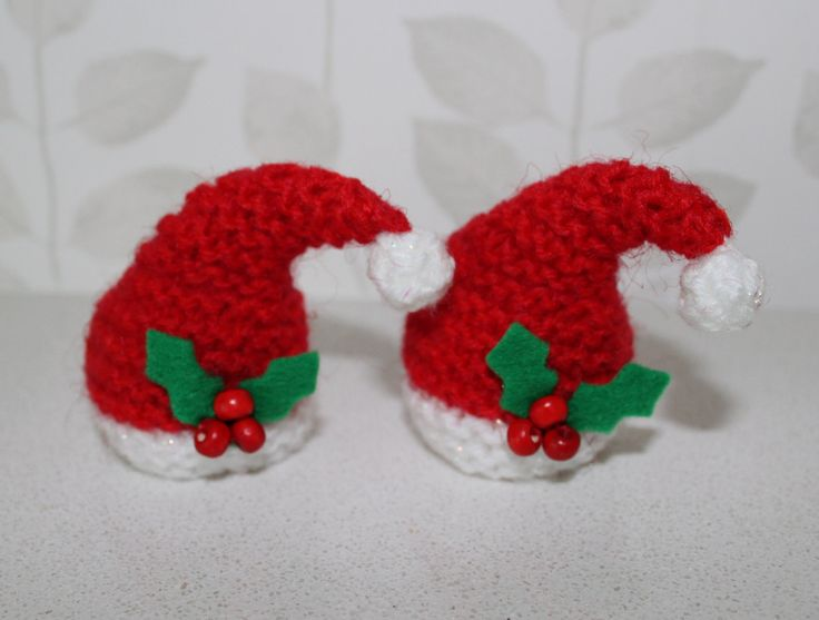 Hand knitted Santa hat covers for ferrero rocher by DaintyButtons
