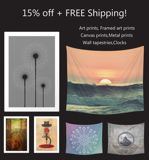 PROMO- 15% off + FREE Shipping on art prints,tapestries and clocks!