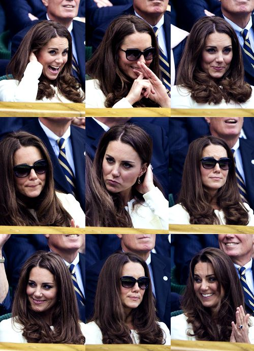 08.07.2012 Catherine, Duchess of Cambridge and Pippa Middleton sit in the Royal Box during the Gentlemen's Singles final match between Roger Federer of Switzerland and Andy Murray of Great Britain on day thirteen of the Wimbledon Lawn Tennis Championships at the All England Lawn Tennis and Croquet Club in London, England.
