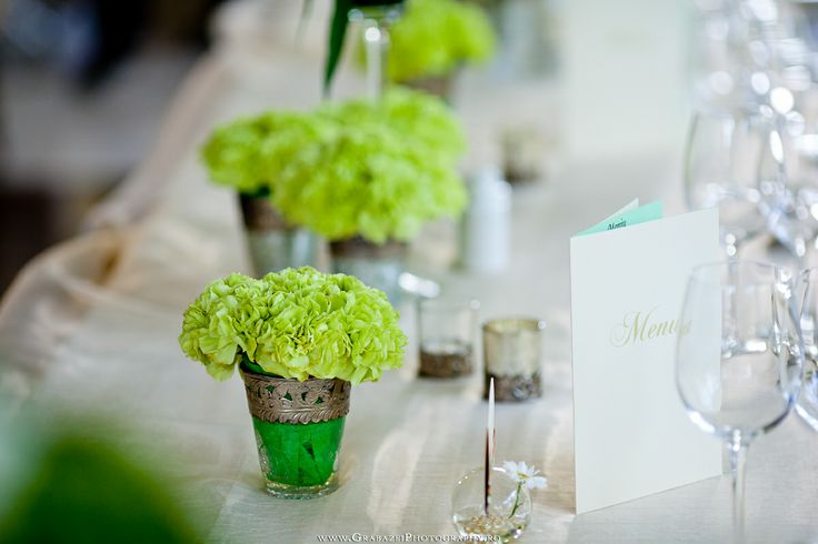 Green carnation   Daylight wedding decoration at Crown Plaza Hotel in Bucharest   See the full wedding on http://grabazeiphotography.ro/?page=portfolio&id=101