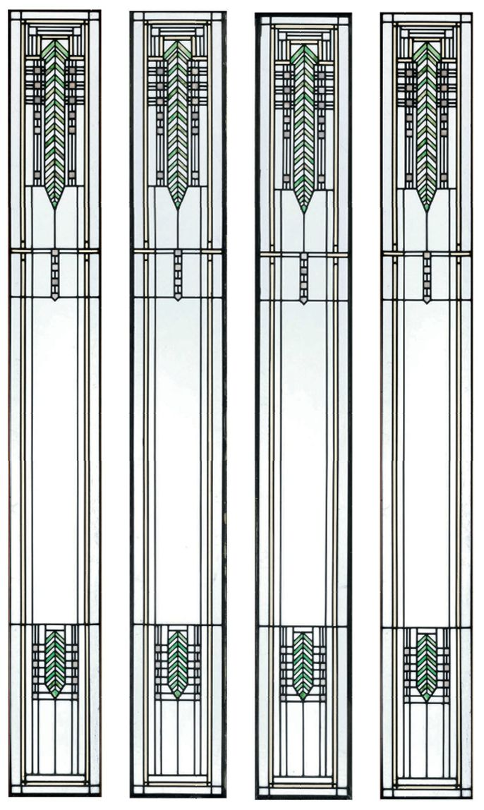 Lovely arrow motif stained glass window designed by frank for Window glass design