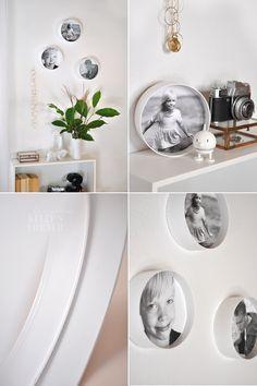 Bilder schön präsentieren - im Baumarkt einfach ein Verbindungsstück besorgen; Bilder ausschneiden, auf feste Pappe kleben und einfach zwischen den Ring klemmen