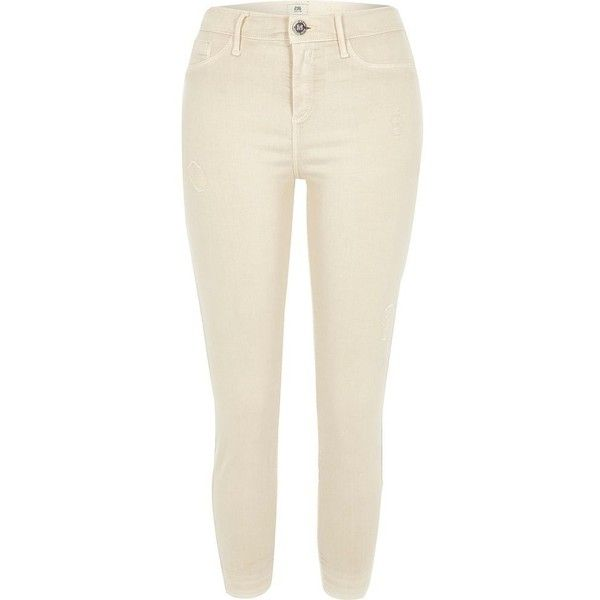 River Island Petite cream Molly skinny jeggings ($80) ❤ liked on Polyvore featuring pants, leggings, cream, jeans, jeggings, women, cream leggings, white jean leggings, white leggings and ripped jeggings