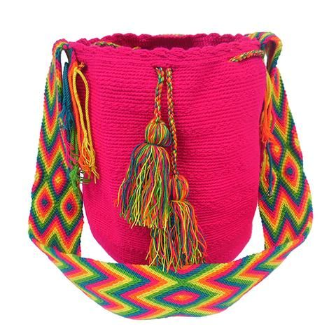 Fucsia The bags are 100% handmade, using various weaving techniques and sizes. The patterns, shading, and detail vary from bag to bag depending on the weaver. A bag can take an experienced weaver up to a number of weeks  to complete while also tending to her family and duties as a mother. Each bag has a unique identifier code. All our Mochila Bags are carefully made from fine thread.