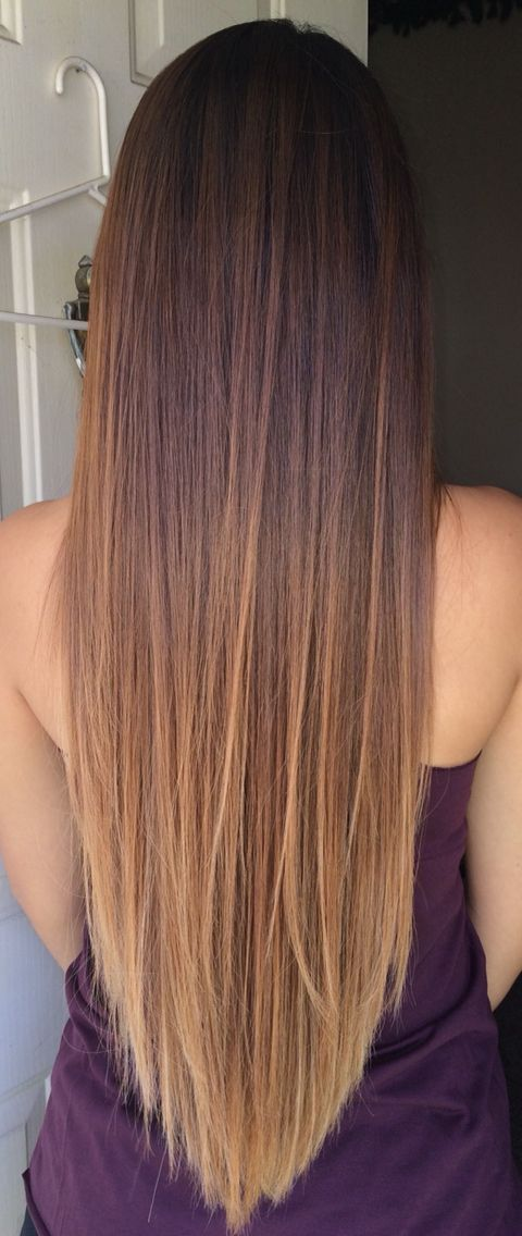 Ombre hair. Started with peekaboo highlights. Perfect graduation from dark to…
