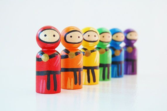 Wooden Ninja Set Rainbow colors Wooden Peg Doll by Zooble
