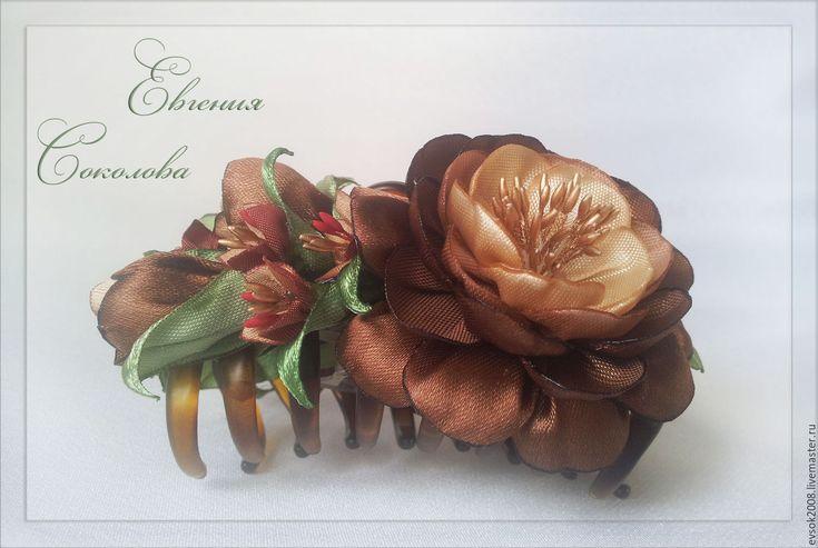 Купить Заколка - краб с цветами Шоколад - украшение для волос, цветы в прическу, зажим с цветами