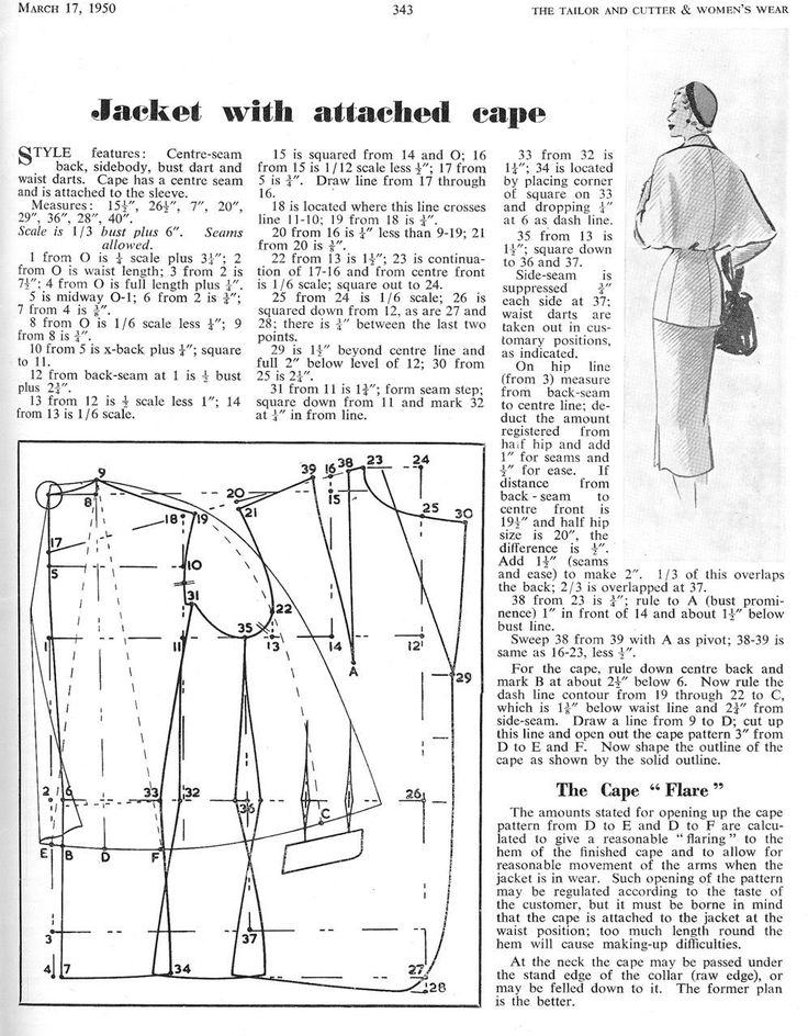 A Caped Jacket c1950 - The Cutter and Tailor