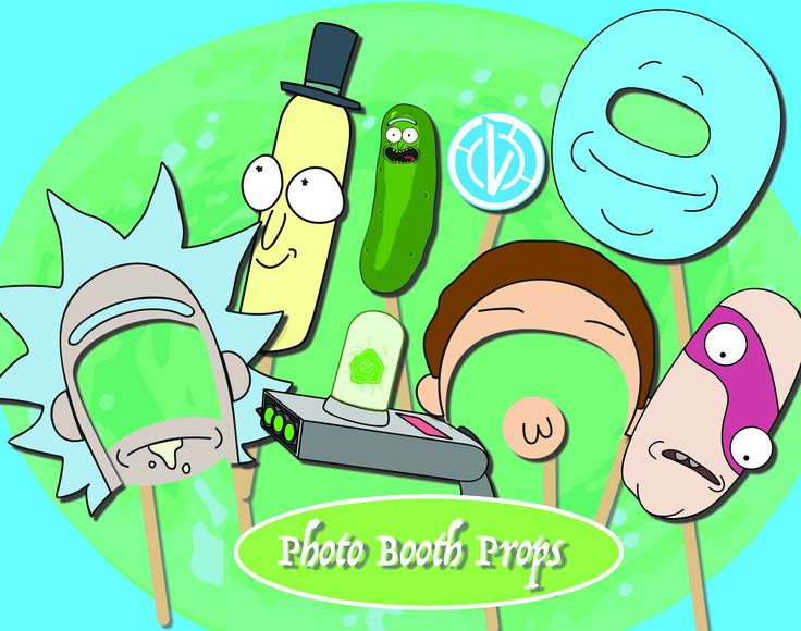 30+ Rick and Morty Party Photo Booth/ Costume Props Instant Download PDF by Jamsnovelties on Etsy