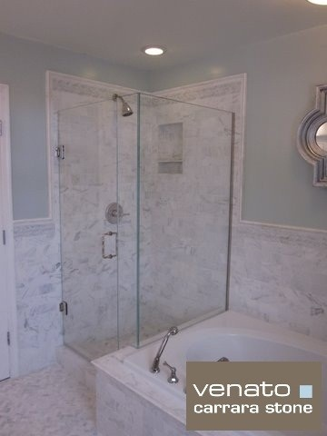 shower tile ideas with wainscoting marble