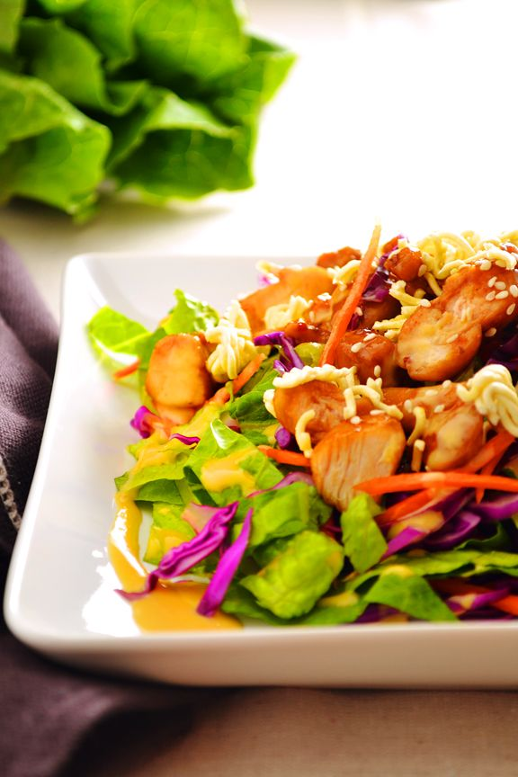 Asian chicken salad with Orange Miso dressing. This dressing will ROCK your world!  ~Dinners for Winners
