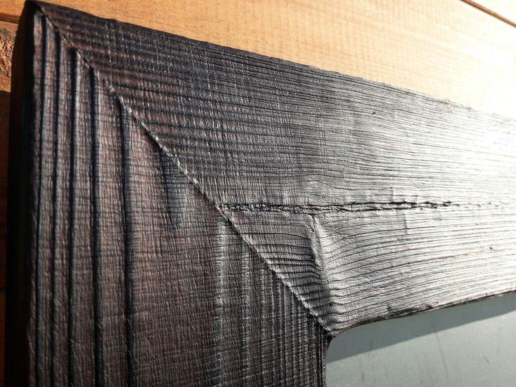 Shou sugi ban wooden pine frame.  Www.piunature.com