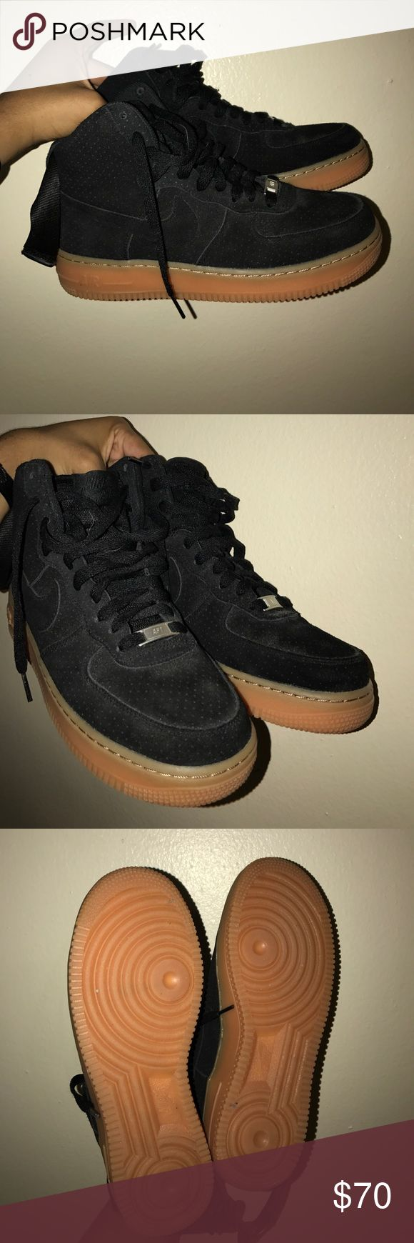 Women's Nike Air force 1 Black Gum bottom. Women's Nike Air Force 1s, worn once! In great condition. Comes with original box. Nike Shoes Sneakers