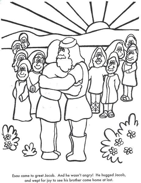 Learn Stories With Jacob Esau Meet Again Coloring Page | cabello ...