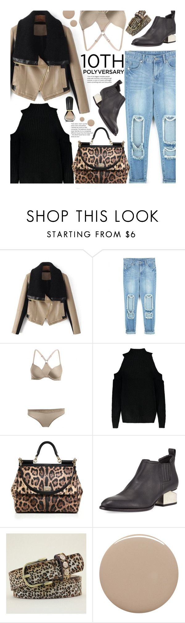 """Street Style: Distressed Denim"" by beebeely-look ❤ liked on Polyvore featuring Dolce&Gabbana, Alexander Wang, Deborah Lippmann, Oribe, LeopardPrint, streetwear, distresseddenim, StreetSyle and twinkledeals"
