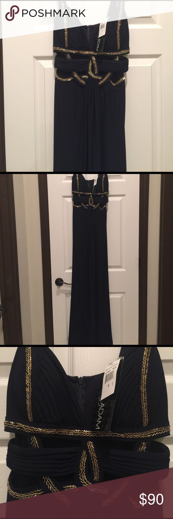 Navy-Gold sexy dress Gorgeous navy cut-out dress with very flattering gold embellishments. Fits true to size. Never worn and tags still on. Listed as Sherri Hill for brand exposure, but the brand is WINDSOR. Price is negotiable. Sherri Hill Dresses Prom