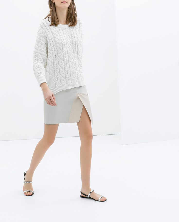 Image 2 of TWO-TONE FAUX LEATHER MINISKIRT from Zara