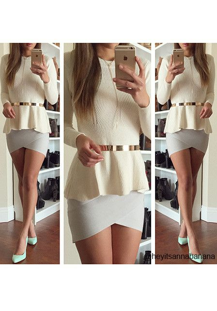 Knitted Cream Peplum Top - Sweet Kntted Top