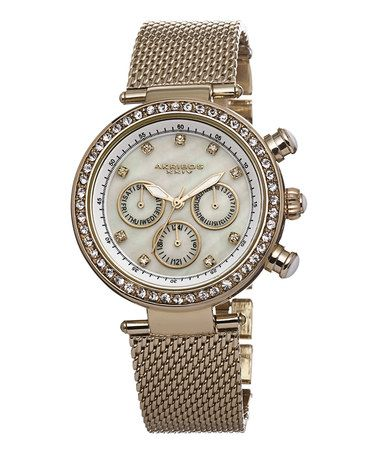 Love this Gold & Mother-of-Pearl Chronograph Watch - Women on #zulily! #zulilyfinds