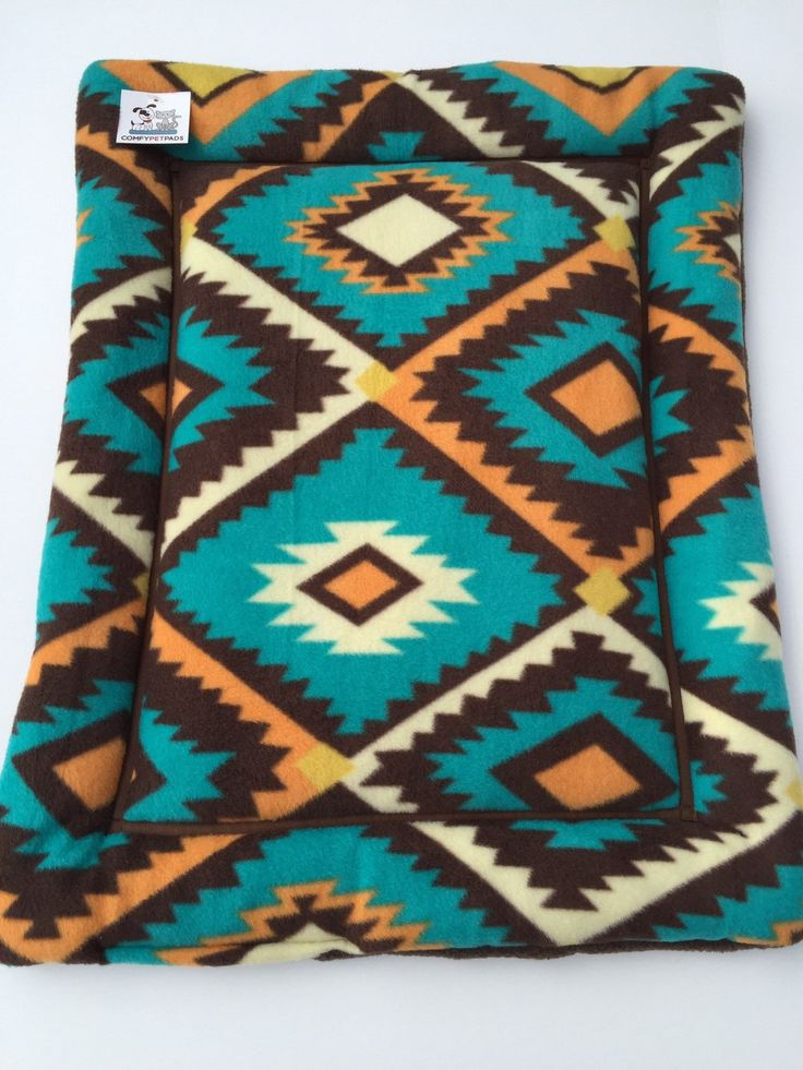 Southwestern Dog Bed, Fleece Dog Beds, Puppy Bed, Small Crate Pad, Aztec Bedding, Blue Dog Bed, Western Decor, Cat Carrier Pad, Cat Bed by ComfyPetPads on Etsy