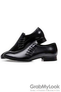 GrabMyLook Point Head Double Lace Up Black Leather Mens Loafers Dress Shoes Flats