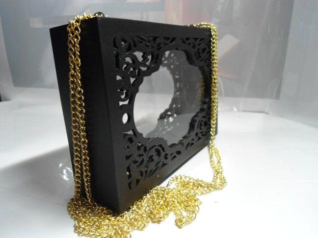 Mdf + acrylic clear clutch ornament