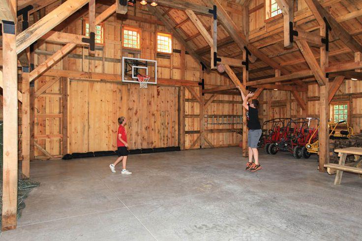 Basketball in the Barn! Post & Beam wood storage barn.  www.sandcreekpostandbeam.com https://www.facebook.com/SandCreekPostandBeam