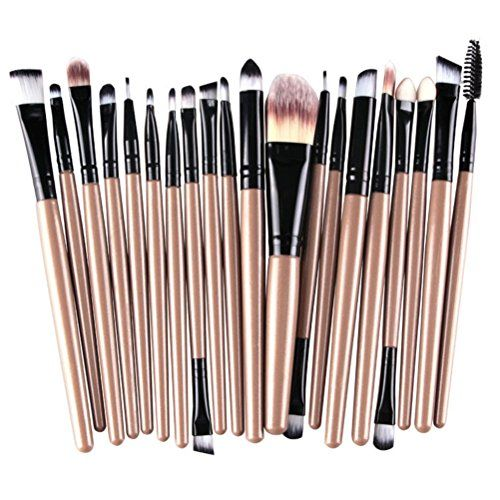 MELADY20pcs Multifunction GoldBlack Pro Cosmetic Powder Foundation Eyeshadow Eyeliner Lip Makeup Brushes Sets -- To view further for this item, visit the image link.