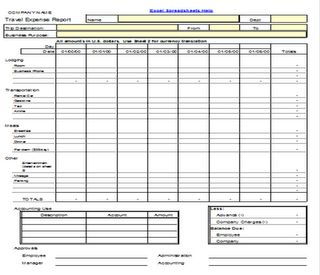 travel expense report form template spreadsheet download
