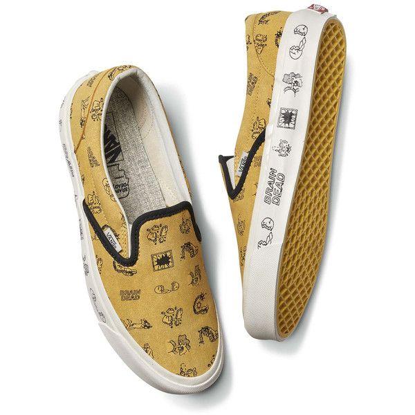 Vans Vans X Brain Dead Classic Slip on Sneakers (233.825 COP) ❤ liked on Polyvore featuring men's fashion, men's shoes, men's sneakers, gold, mens woven leather slip-on shoes, mens leather shoes, mens slip on sneakers, mens slip on shoes and mens leather sneakers