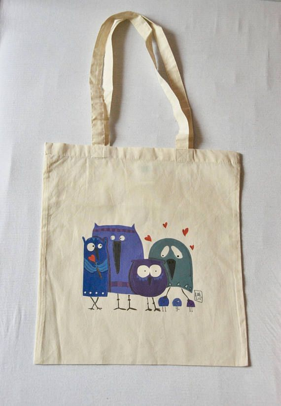 #Borsa #shopper #cotone con #illustrazione #gufi #owl #etsy #labliu     https://www.etsy.com/it/listing/534975777/borsa-shopper-cotone-con-illustrazione?ref=related-4