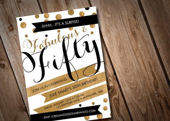 DIY Fabulous and FIfty Birthday Invitation | Birthdays ...