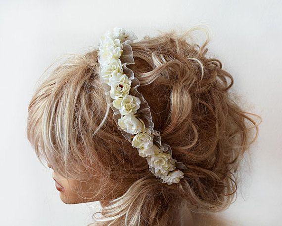 Bridal Flower Crown İvory Floral Headband Flower by ADbrdal, $46.00