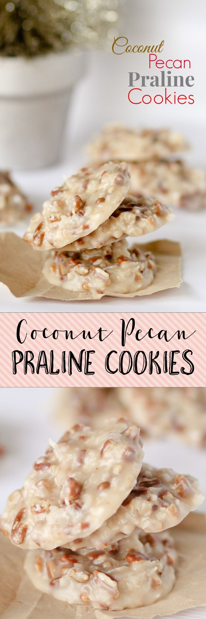 No Bake Coconut Pecan Praline Cookies. I GET SO MANY REQUESTS FOR THESE!! Love love them. Dip the bottoms in chocolate to make them even more decadent!!