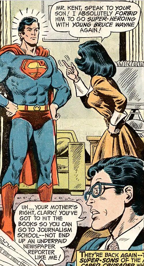 Superman Jr. (DC Comics Super-Sons) with his parents