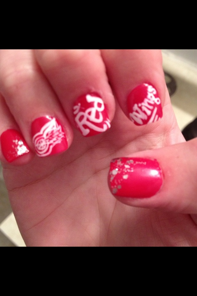 21 best hockey nail art images on pinterest hockey nails hockey red wing nails compliments of nicky v prinsesfo Choice Image